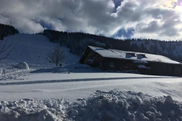 Blick zum Gipfel im Winter
